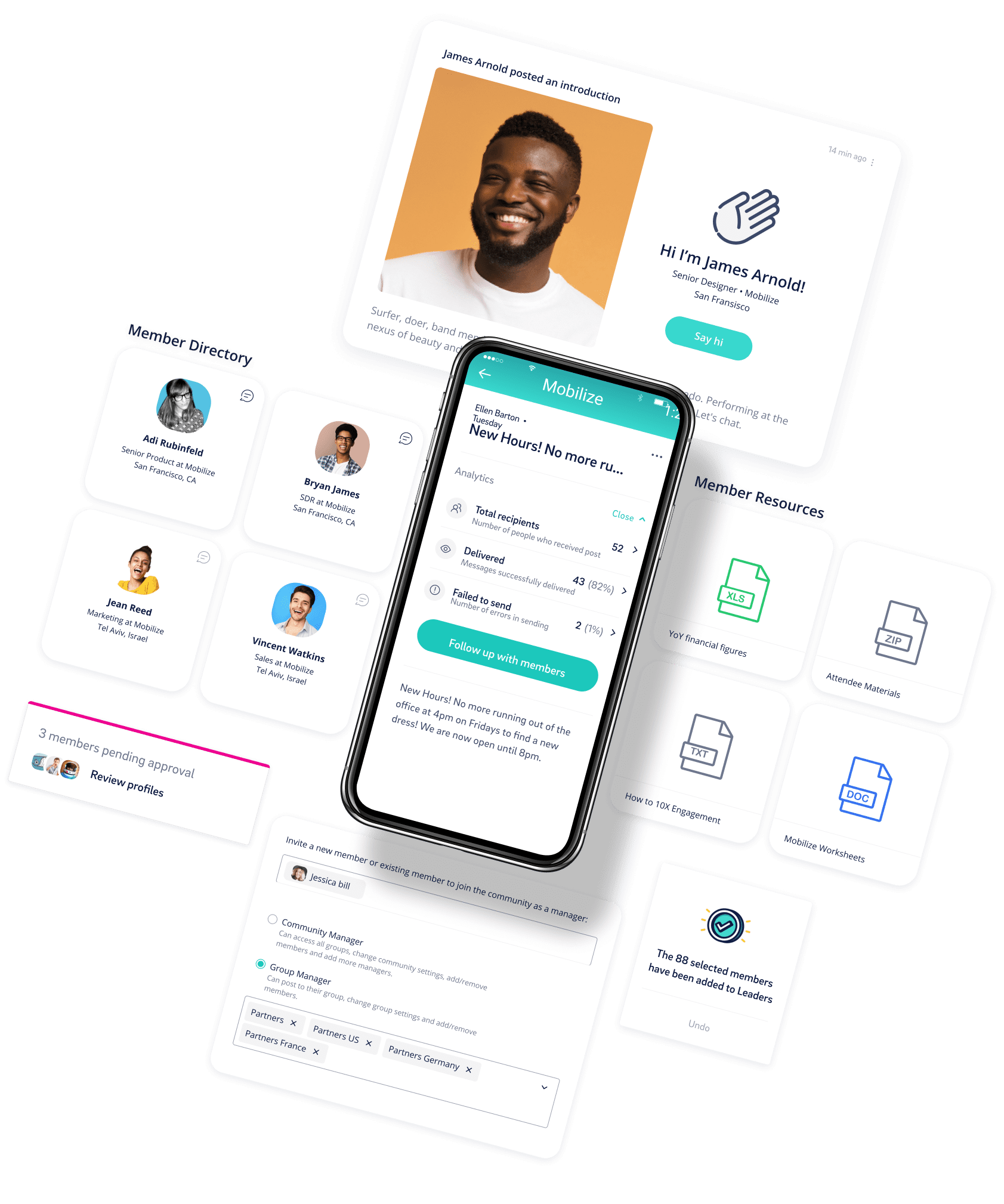 The Mobilize interface on a mobile phone, the member directory, the post type, the resources that users share, and the Mobilize community management interface