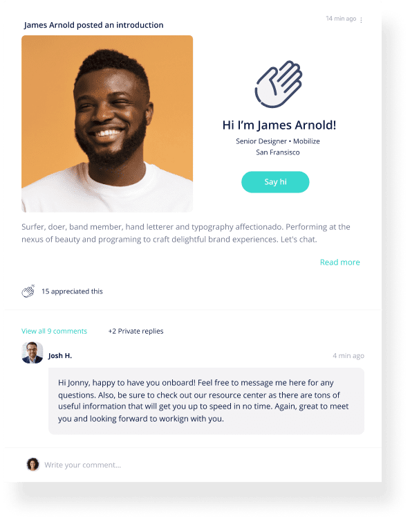 Onboarding post type showing a new member within a Mobilize community