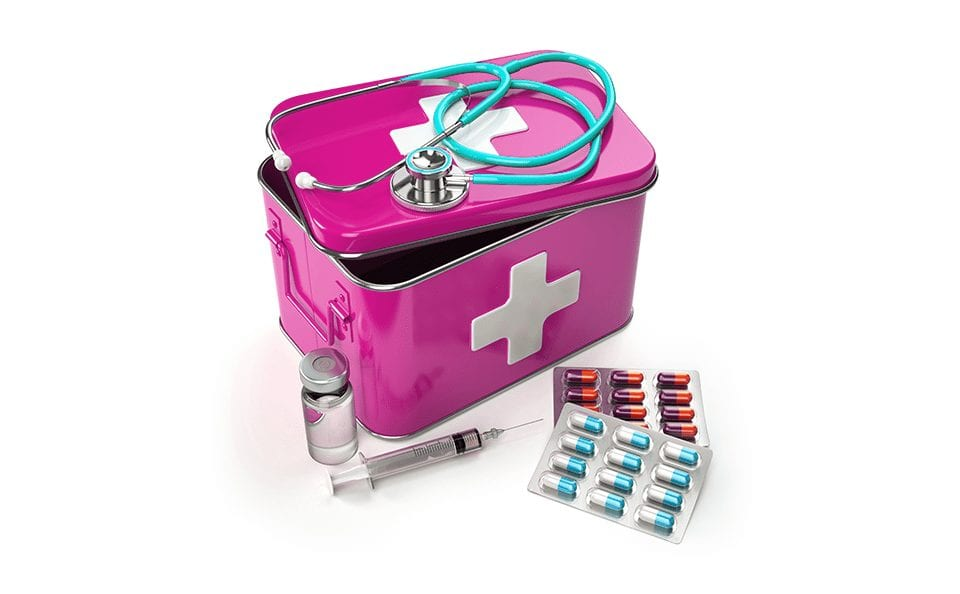Pink medical kit with medicine for corona virus